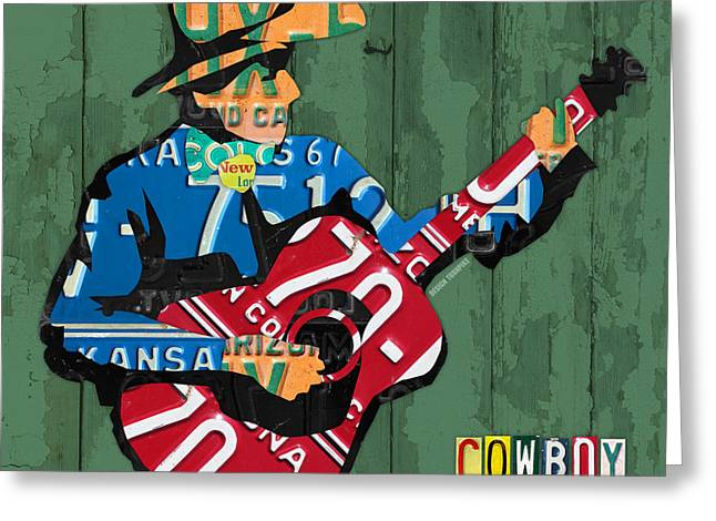 Rustic Mixed Media Greeting Cards - Rustic Cowboy Playing Acoustic Guitar Recycled License Plate Art Greeting Card by Design Turnpike
