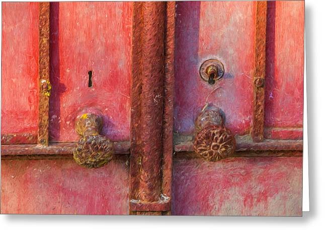 Entranceway Greeting Cards - Rustic Door of Portugal Greeting Card by David Letts