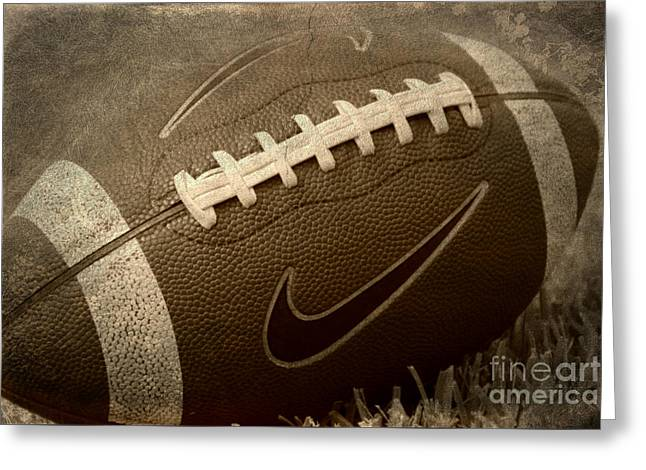 Rustic Football Greeting Card by Amy Steeples
