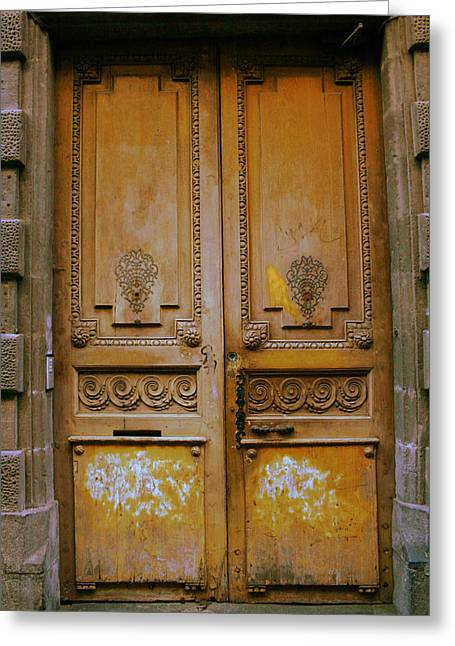 Entrance Door Greeting Cards - Rustic French Door Greeting Card by Nomad Art And  Design