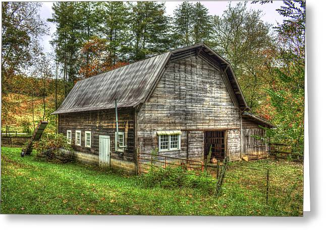 Biosphere Reserve Greeting Cards - Rustic Gambrel Style Mountain Barn Great Smoky Mountains Greeting Card by Reid Callaway