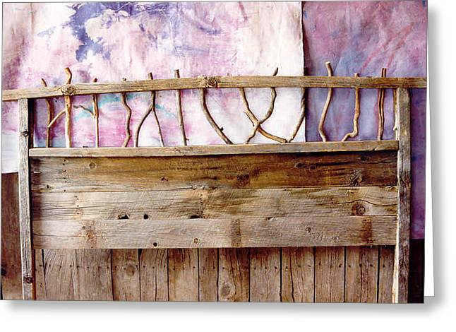 Rustic Sculptures Greeting Cards - Rustic Headboard Greeting Card by Thor Sigstedt
