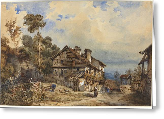 Prospects Greeting Cards - Rustic Landscape Greeting Card by French 19th Century
