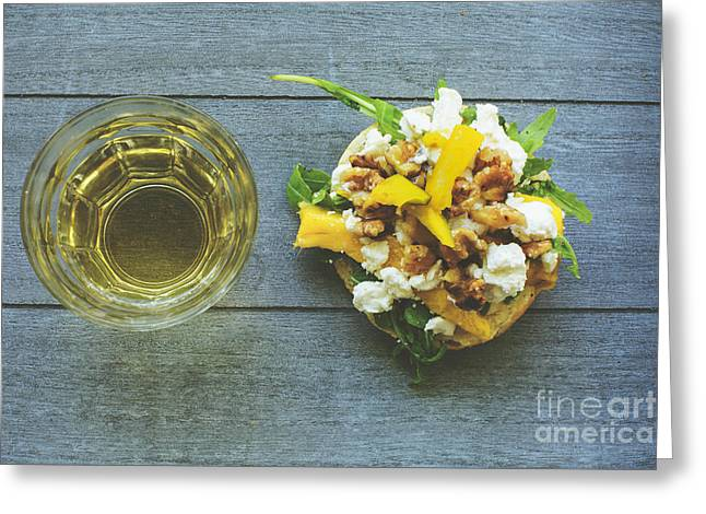 Table Wine Greeting Cards - Rustic lunch with goat cheese Greeting Card by Patricia Hofmeester