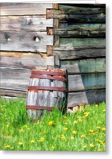 Log Cabins Greeting Cards - Rustic Rain Barrel at Old World Wisconsin Greeting Card by Christopher Arndt