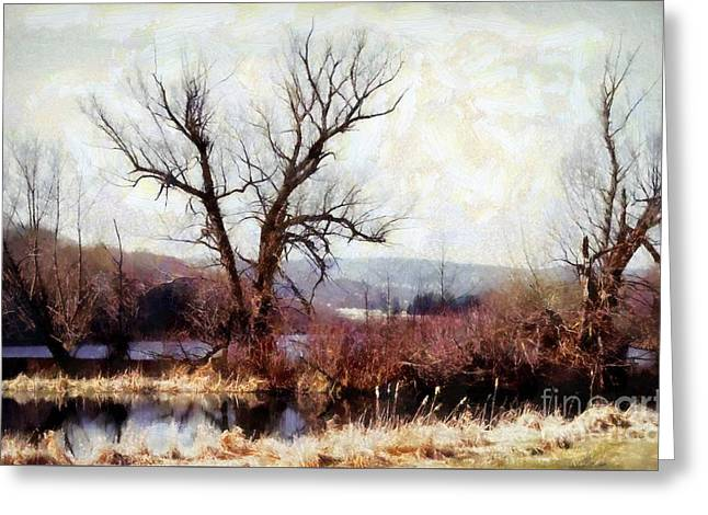 Bare Trees Greeting Cards - Rustic reflections Greeting Card by Janine Riley