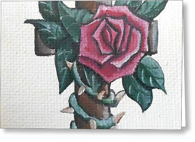 Calvary Greeting Cards - Rustic rose and cross Greeting Card by Josetta Castner