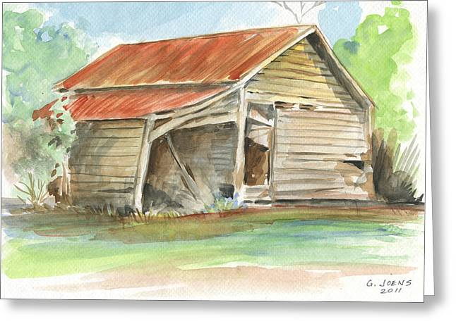 Tin Roof Paintings Greeting Cards - Rustic Southern Barn Greeting Card by Greg Joens