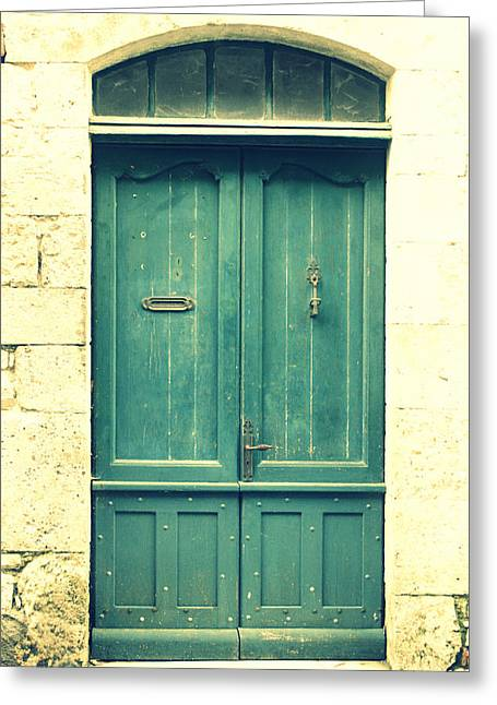 South Of France Greeting Cards - Rustic teal green door Greeting Card by Nomad Art And  Design
