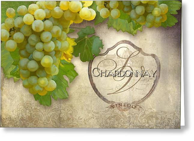 Napa Paintings Greeting Cards - Rustic Vineyard - Chardonnay White Wine Grapes Vintage Style Greeting Card by Audrey Jeanne Roberts