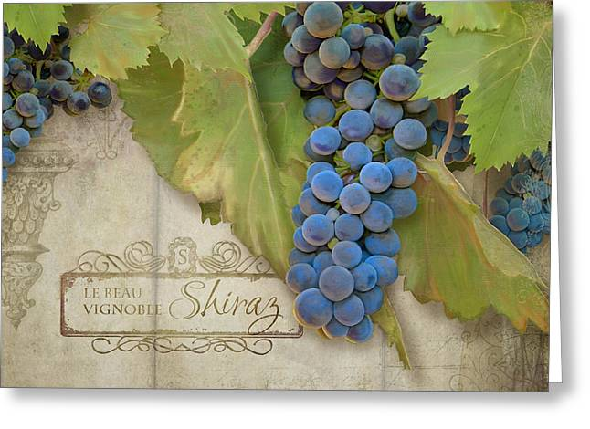 Rustic Vineyard - Shiraz Wine Grapes Over Stone Greeting Card by Audrey Jeanne Roberts