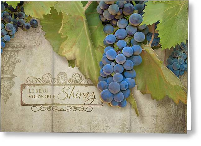 Napa Paintings Greeting Cards - Rustic Vineyard - Shiraz Wine Grapes over Stone Greeting Card by Audrey Jeanne Roberts