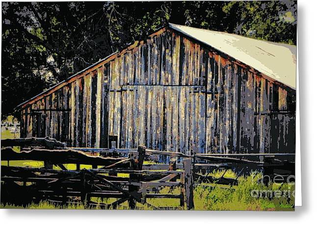 Barn Door Greeting Cards - Rustic Vintage Barn Color Poster Greeting Card by Bobbee Rickard