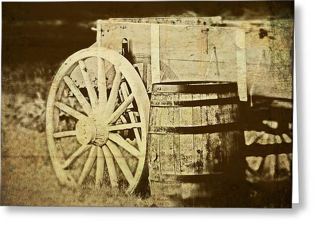 Wooden Wagons Photographs Greeting Cards - Rustic Wagon and Barrel Greeting Card by Tom Mc Nemar