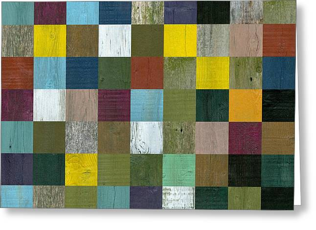 Olive Mixed Media Greeting Cards - Rustic Wooden Abstract Greeting Card by Michelle Calkins