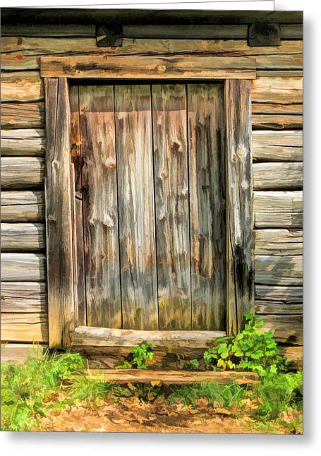 Rustic Wooden Door At Old World Wisconsin Greeting Card by Christopher Arndt