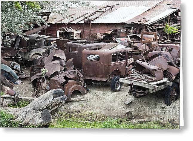 Rusted Cars Greeting Cards - Rusting Antique Cars Greeting Card by Inga Spence