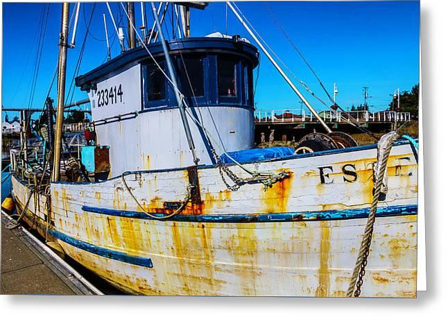 Rusting Boat Dockside Greeting Card by Garry Gay