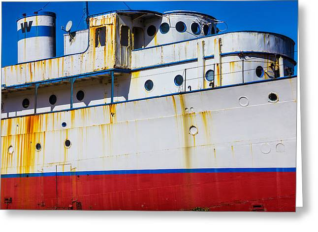 Rusting Cruise Liner Greeting Card by Garry Gay