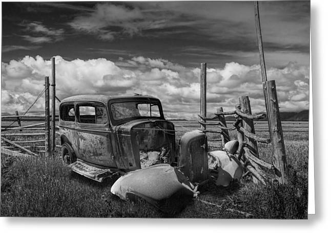 Brown Tones Greeting Cards - Rusty Auto Wreck abandoned out West in Black and White Greeting Card by Randall Nyhof