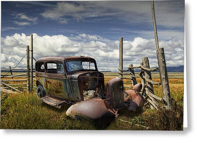 Randy Greeting Cards - Rusty Auto Wreck out West Greeting Card by Randall Nyhof