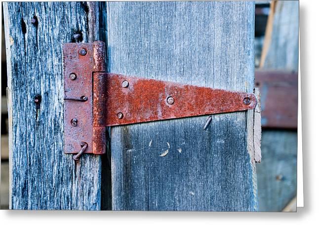 Barn Door Greeting Cards - Rusty Barn Hinge 1 Greeting Card by Douglas Barnett