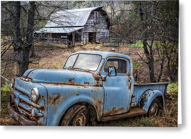 Tennessee Barn Greeting Cards - Rusty Blue Dodge Greeting Card by Debra and Dave Vanderlaan
