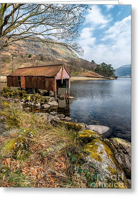 Docked Boat Greeting Cards - Rusty Boathouse Greeting Card by Adrian Evans