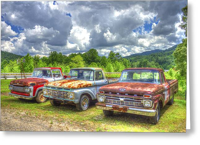 1960 Greeting Cards - Rusty Brothers Ford Trucks 1960 1964 1966 Greeting Card by Reid Callaway