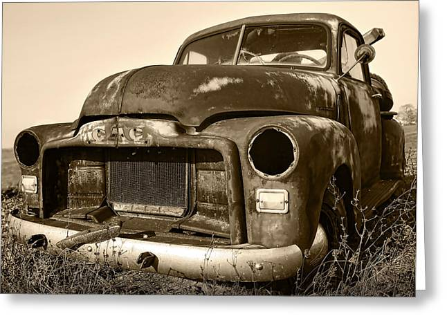 Old Relics Greeting Cards - Rusty But Trusty Old GMC Pickup Truck - Sepia Greeting Card by Gordon Dean II