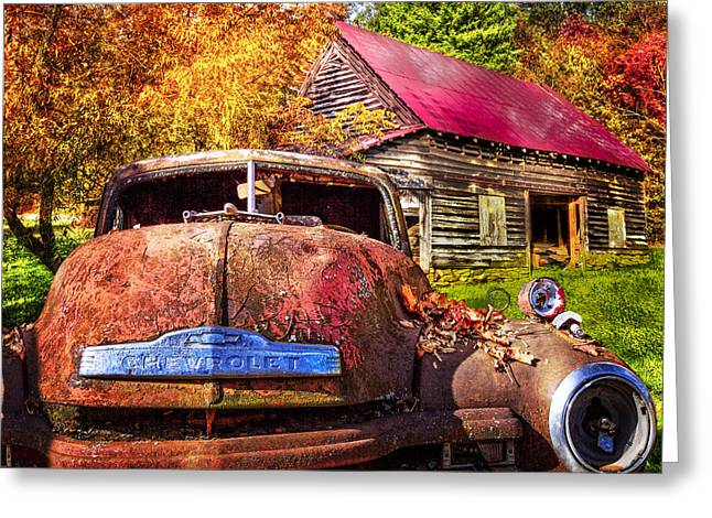 Old Barns Greeting Cards - Rusty Chevy  Greeting Card by Debra and Dave Vanderlaan