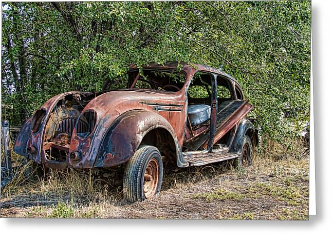 Rusted Cars Greeting Cards - Rusty Chrysler Airflow Greeting Card by Nick Gray