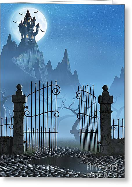 Frightening Castle Greeting Cards - Rusty gate and a spooky dark castle Greeting Card by Sara Winter