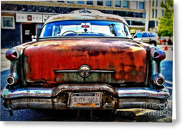 Rusted Cars Greeting Cards - Rusty Gold Greeting Card by DJ Florek