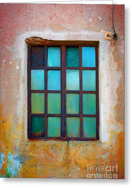 Glass Wall Greeting Cards - Rusty Green Window Greeting Card by Carlos Caetano