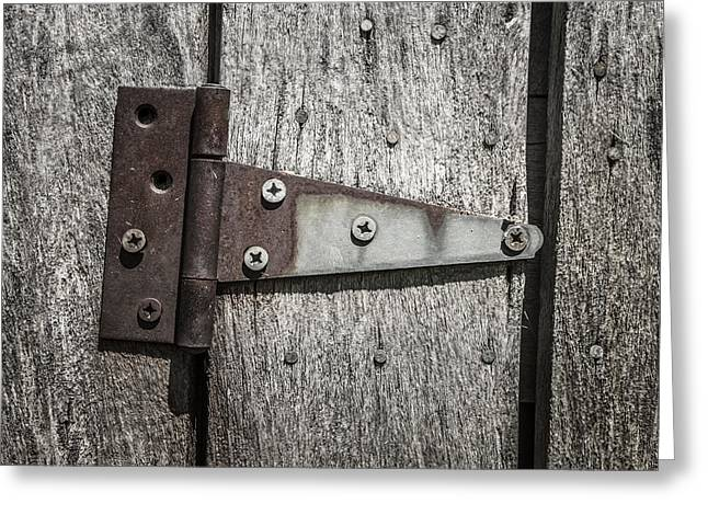 Log Cabin Photographs Greeting Cards - Rusty Hinge on Log Building Greeting Card by Donald  Erickson