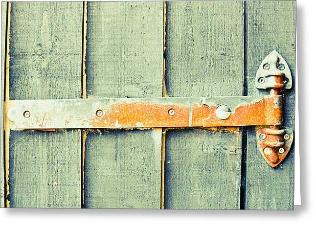 Rusty Hinge Greeting Card by Tom Gowanlock