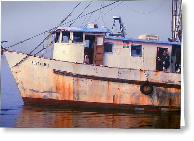 Shrimp Boat Captains Greeting Cards - Rusty II and Crew Greeting Card by Laura Ragland