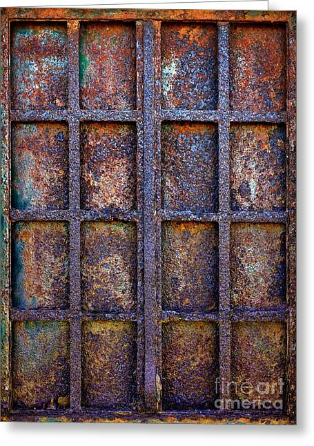 Grunge Photographs Greeting Cards - Rusty Iron Window Greeting Card by Carlos Caetano