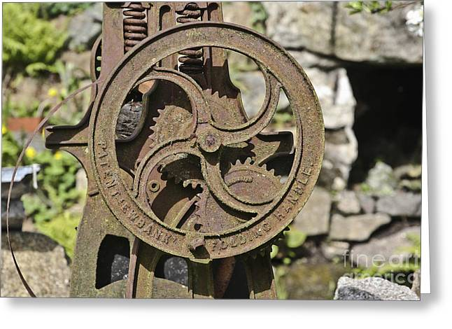 Industrial Background Greeting Cards - Rusty Mangle Greeting Card by Terri  Waters