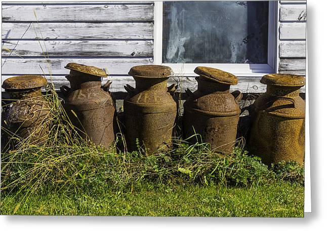 White Barns Greeting Cards - Rusty Milk Cans Greeting Card by Garry Gay