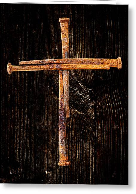 Clever Greeting Cards - Rusty Nail Cross Greeting Card by Donald  Erickson