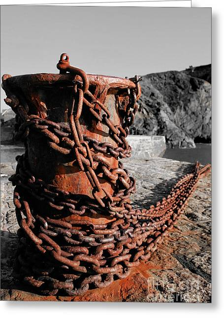 Selective Colouring Photographs Greeting Cards - Rusty Old Chain Greeting Card by Carl Whitfield