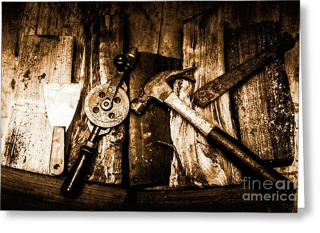 Rusty Old Hand Tools On Rustic Wooden Surface Greeting Card by Jorgo Photography - Wall Art Gallery