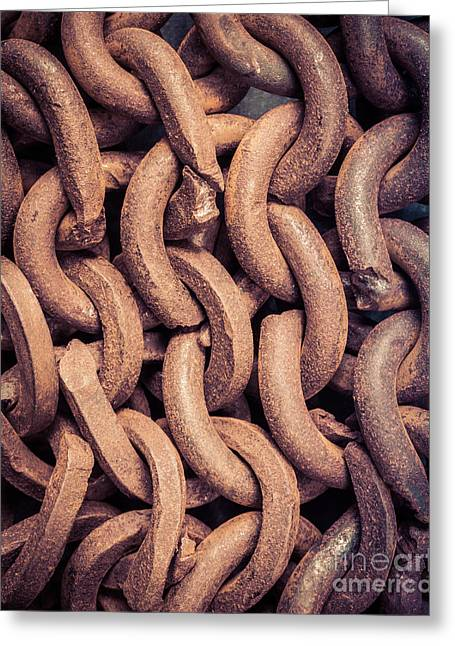 Militaria Greeting Cards - Rusty Old Intervoven Chain Greeting Card by Edward Fielding
