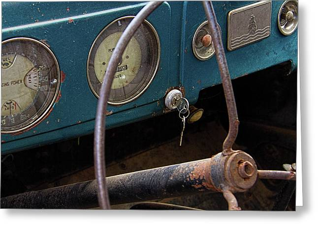Rusty Plymouth Dashboard Greeting Card by Nick Gray