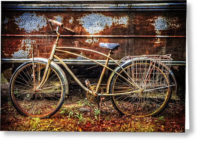 French Bicycle Shop Greeting Cards - Rusty Ride Greeting Card by Debra and Dave Vanderlaan