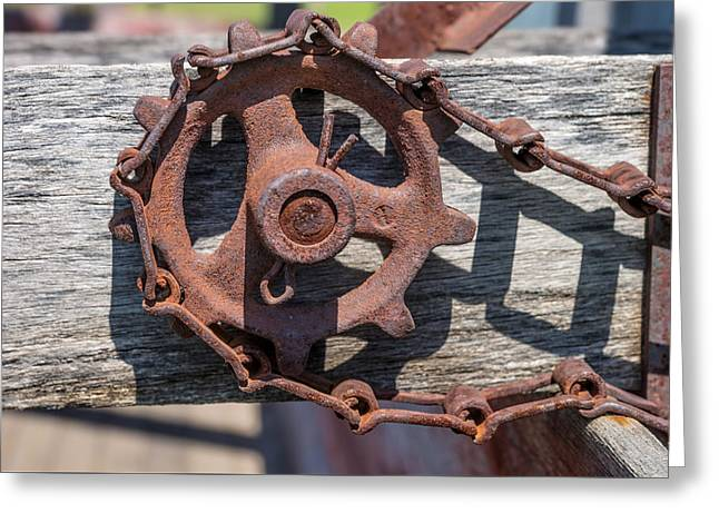Artist Photographs Greeting Cards - Rusty Sprocket and Chain Greeting Card by Donald  Erickson