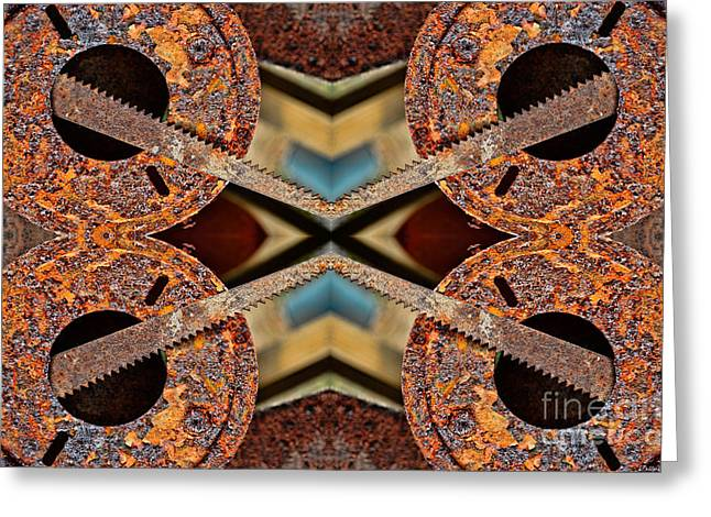 Saw Greeting Cards - Rusty Tools 1 - Tiled 1 Greeting Card by Debbie Portwood