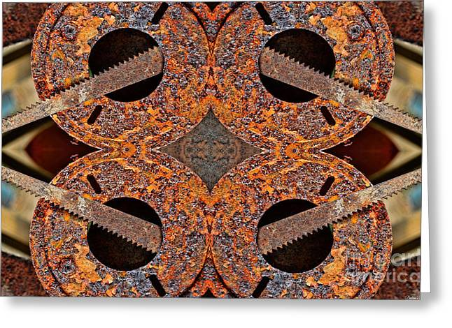 Saw Greeting Cards - Rusty Tools 1 - Tiled 3 Greeting Card by Debbie Portwood